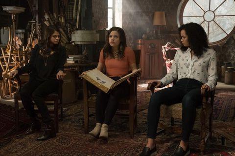 (L-R) Melonie Diaz, Sarah Jeffery, Madeleine Mantock