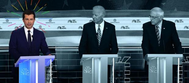Pete Buttigieg is one of the candidates making the case for why he should be the Democratic nominee. He is pictured alongside Joe Biden and Bernie Sanders.