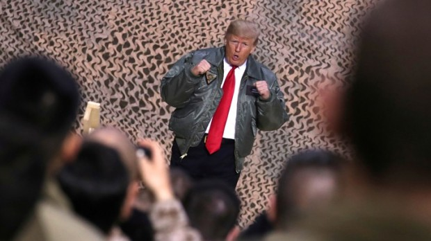 FILE PHOTO: U.S. President Trump delivers remarks to U.S. troops in an unannounced visit to Al Asad Air Base, Iraq